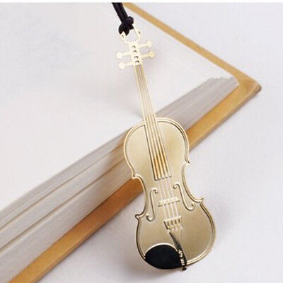 1PCS Cute Gold Plated Metal Music Instruments Violin Bookmark Book Paper Reading