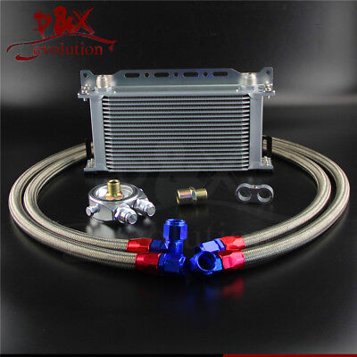 19 Row AN10 Universal Engine Oil Cooler w/ Oil Lines + Filter Adapter Silver