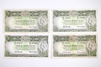 4x 1954 & 1961 Coombs Wilson One Pound Australian Banknotes