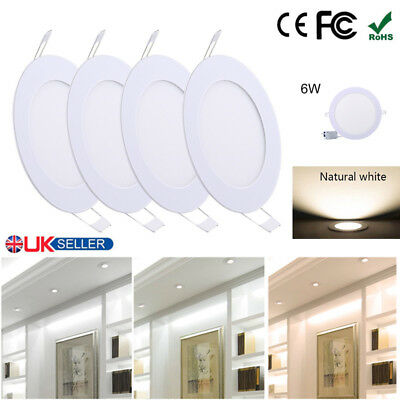 4 Pack 6W Ultra-Thin Round LED Ceiling Down Light Panel Kitchen Bathroom Lamp UK