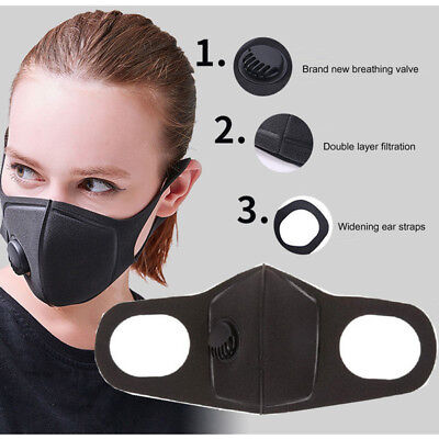 Unisex Filter Mouth Mask Anti-fog Haze Dust Viral Influenza Police Doctor Mask #