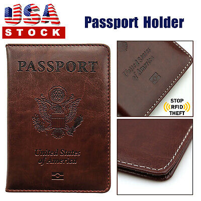 Leather US Passport Cover ID Holder Wallet Travel Case Handmade Brown