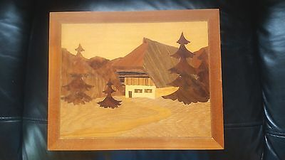Picture Wood Inlaid /marquetry Pictures Of Mountain Log Cabin And Pine Trees