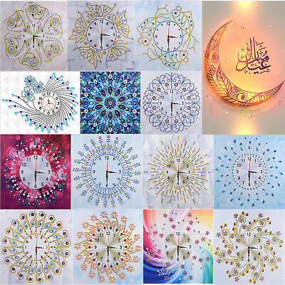 AU DIY Special Shaped Diamond Painting White Flower Wall Clock Craft Home Decor
