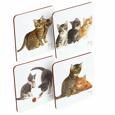 Adorable Cute Kitten Cork Backed Laminated Coasters Set Of Four Dutch Cat Artist