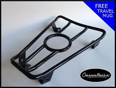 Vespa GTS GT GTV  floor board rack CUP HOLDER- gloss black CLASSIC RACKS