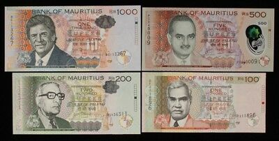 MAURITIUS : 100, 200, 500, 1000 Rupees 2010-17 P-56new, 61b, 66new, 63a UNC. (4)