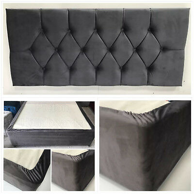 Plush Velvet Diamond Headboard + Matching Elasticated Bed Valance Bed Wrap