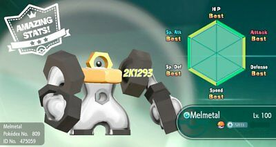 Pokemon Lets Go Pikachu & Eevee Shiny Event Meltan or Melmetal 6IV Max AV switch