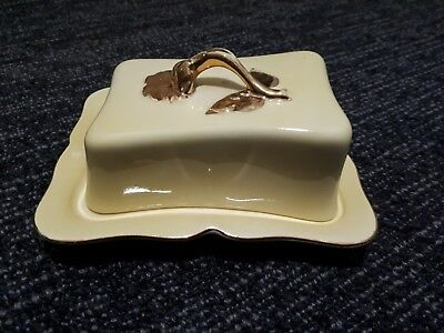Royal Winton Butter Dish With Lid - Yellow & Gold - England