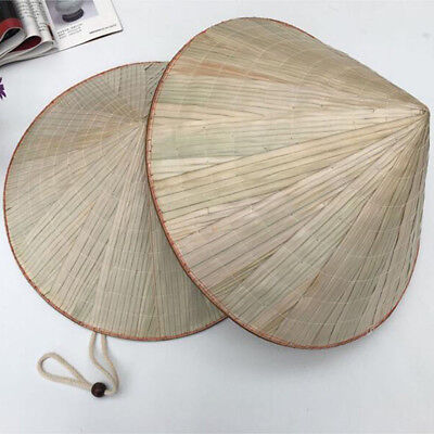 2 Pack Bamboo Coolie Chinese Conical Hat Asian Japanese Straw Sun Rice Farmer