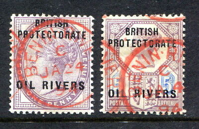 """Niger Coast Protectorate o/p GB 1d. & 5d. both cancelled """"BENIN RIVER"""" red c.d.s"""