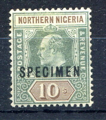 """Northern Nigeria 1902 EVII 10/- green & brown mint o/p """"SPECIMEN"""", faults. SG18s"""