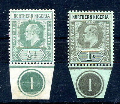 """Northern Nigeria 1910 EVII ½d. & 1/- mint singles with plate number """"1"""" below"""