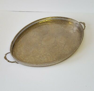 ARTHUR PRICE Vintage Footed Silver Plated Butler Serving Tray Plate Handles