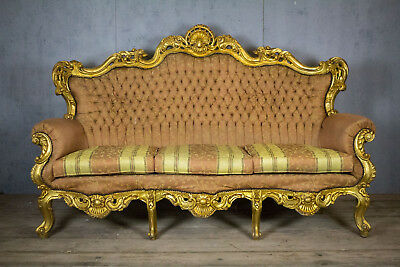 Antique, Vintage Beautiful, French, Gold 3 seater sofa