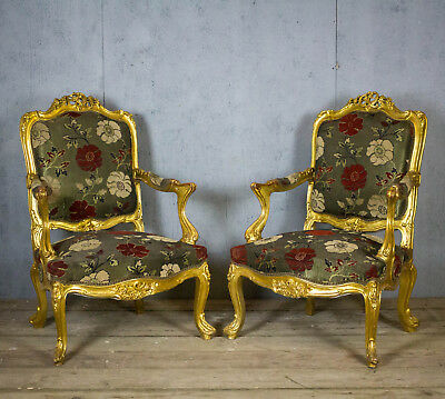 Antique Beautiful, French, Rococo Gold armchairs, Pair
