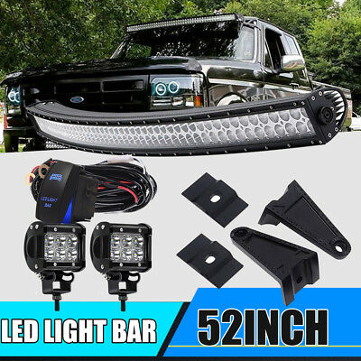 """52inch Curved Led Light bar +2X 4"""" CREE Work Pods Offroad Ford Jeep SUV Truck 50"""