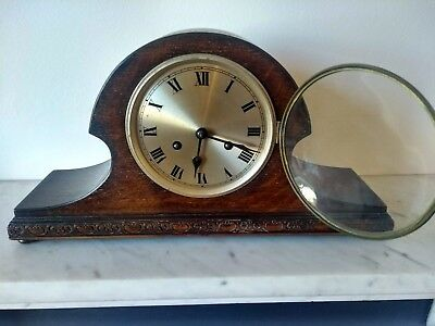 Vintage wooden Napoleon mantle clock in working order with working Chimes