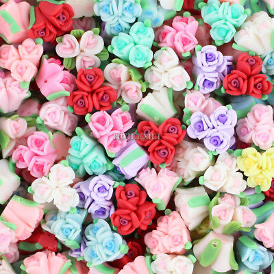 30pcs 15mm Mixed Polymer Fimo Clay Flower Loose Spacer beads SL94