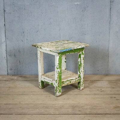 Fantastic French Antique Stool, Bedside, Original Paint, Vintage, Oak