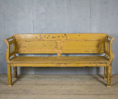 Beautiful Yellow, Painted Bench/settle, Antique, Vintage