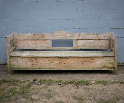 Beautiful Painted Bench/settle, Storage Box, Antique, Vintage