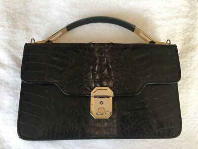 Vintage Crocodile Skin Brown Purse Satchel w Amiet Clasp