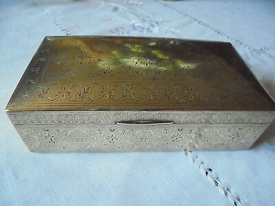 Vintage Brass hinged Box with Wood lining Beautiful design 6.5in vgc