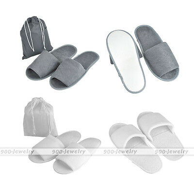 Foldable Towelling Disposable Slippers Hotel Travel Home Office Open Toe Shoes