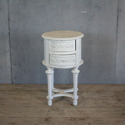 Lovely French Antique White Side Table With Drawers