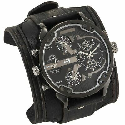 APHOTIC Steel Snazzy 4 Time Zones Watch Vintage Black 7cm Wide Cowhide Leather S