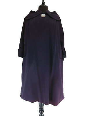 Vintage Womens 1950s/1960s Radimar Purple Cape Collar Coat UK 12-14