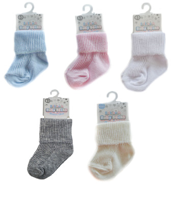 Newborn Baby Girl Boy Cute Ankle High Turnover Socks Pack of 2 Age 0-3 Months