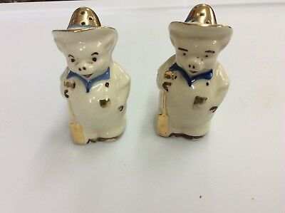 "3.5"" Porcelain Farmer Pig Salt and Pepper Shakers-w/ Gold accents"
