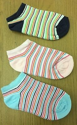 "Kids Girls Boys Stripe 3 Pack Ankle Age 2 3 4 5 PINK BLUE GREEN ""Cheeky Socks"""