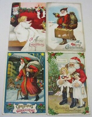 Lot Of 4 Antique Christmas Santa Claus Holiday Embossed German Postcards