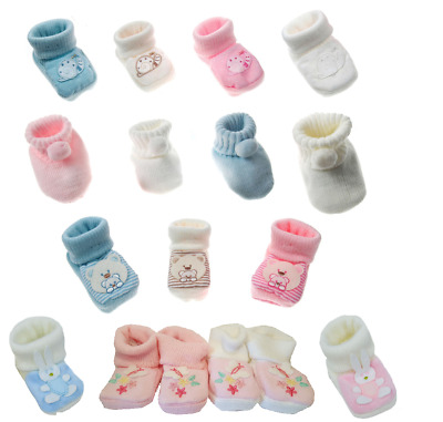 Newborn Baby Boy Girl Cute Booties First Soft Shoes Gift Bag Age 0-3 Months