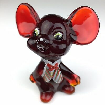 Fenton Glass Mouse MR. RED Ruby RED WITH CHRISTMAS VEST HAND PAINTED AND SIGNED