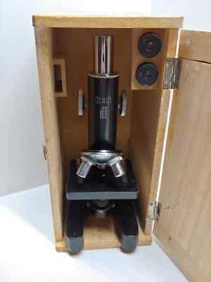 Vintage COC Metal Microscope With Original Wood Box Collectible L@@K!