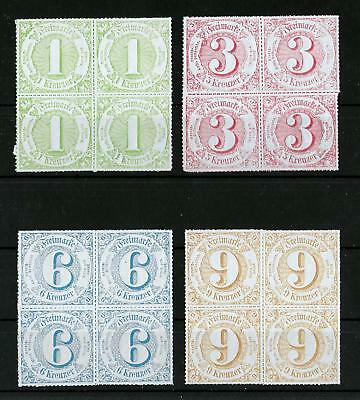 THURN & TAXIS GERMANY 1866 Mint NH Set of 4 in Blocks of 4 Michel #51-54 VF