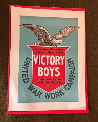 WWI US Military WINDOW POSTER ORIGINAL VICTORY BOYS UNITED WAR WORK CAMPAIGN