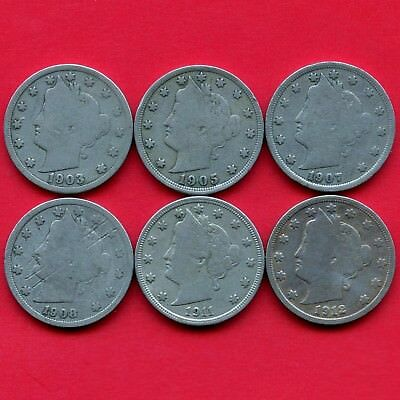 United States 1903 1905 1907 1908 1911 & 1912 Liberty 5 Cent Coins
