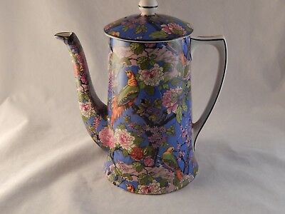 Rare Crown Ducal Blue Chintz Exotic Birds Demitasse Coffee Pot Hard to Find