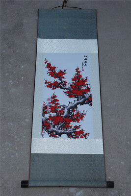 "37"" Chinese SuZhou Silk Art Peony Decoration Scroll Painting Drawing"