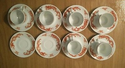 14 PIECE Cup(6) & Saucer(8) Dragon Red On White Fukagawa Tiffany & Co *USED*