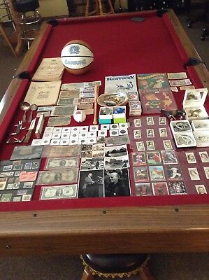 Junk Drawer Lot Jewelry, Knives, 1930s German Cigarette Cards, Currency, Coins