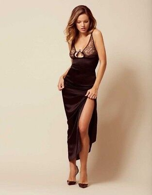 6d268cb14c BNWT Authentic Rare Agent Provocateur Marla Long Gown Dress Slip Black Silk  Lace