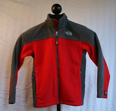 The North Face Youth Boys Fleece Zip Up Jacket Sz M (10/12) Red and Grey
