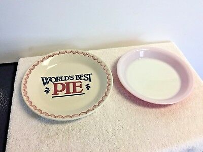 Vintage World's Best Pie Plate Dish Mount Clemens Pottery & Matching 8.5 Pyrex